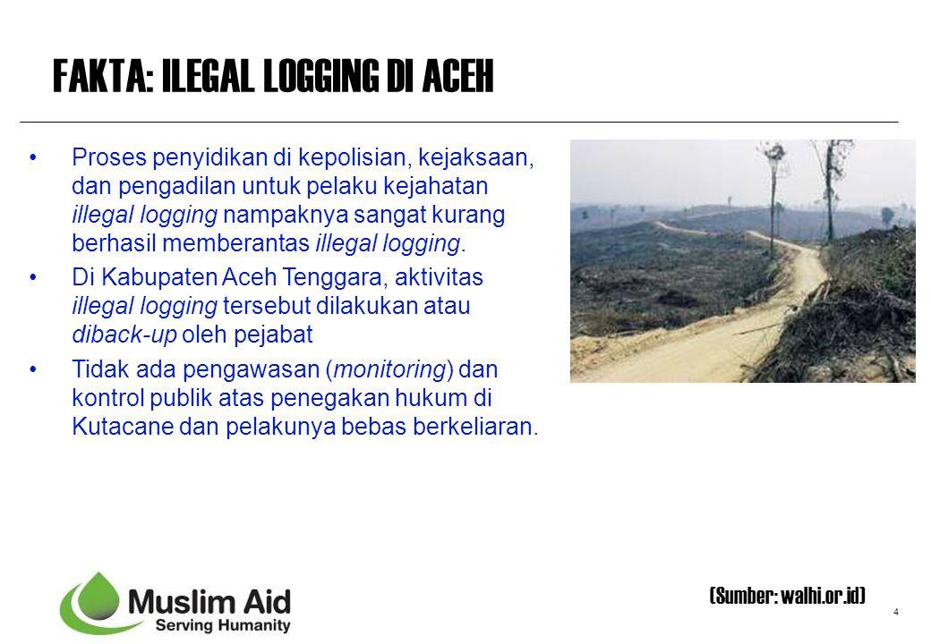4 FAKTA: ILEGAL LOGGING DI ACEH Proses penyidikan di kepolisian, kejaksaan, dan pengadilan untuk pelaku kejahatan illegal logging nampaknya sangat kur