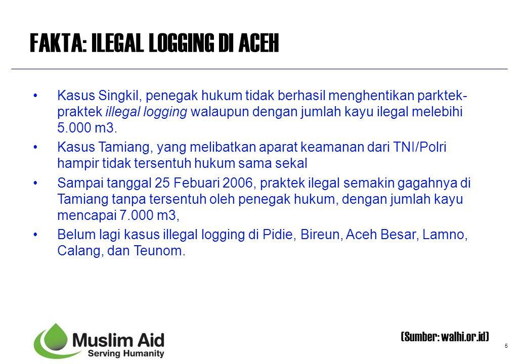 5 FAKTA: ILEGAL LOGGING DI ACEH Kasus Singkil, penegak hukum tidak berhasil menghentikan parktek- praktek illegal logging walaupun dengan jumlah kayu
