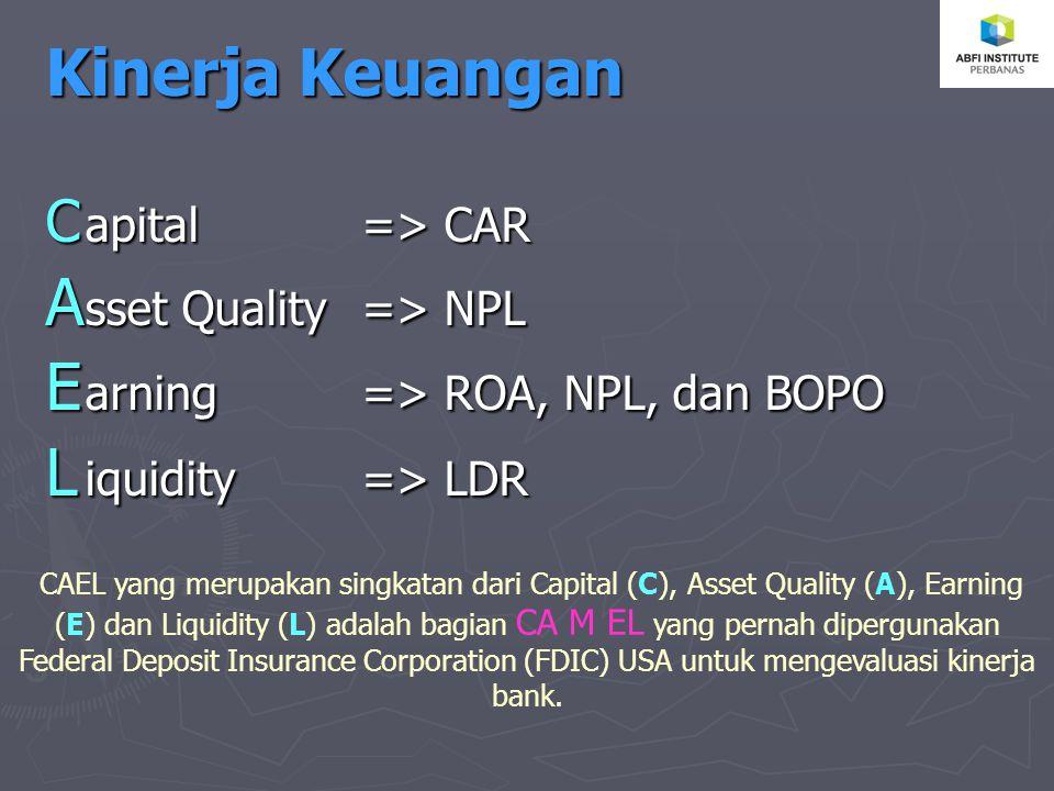 Kinerja Keuangan C apital => CAR A sset Quality => NPL E arning => ROA, NPL, dan BOPO L iquidity => LDR CAEL yang merupakan singkatan dari Capital (C), Asset Quality (A), Earning (E) dan Liquidity (L) adalah bagian CA M EL yang pernah dipergunakan Federal Deposit Insurance Corporation (FDIC) USA untuk mengevaluasi kinerja bank.