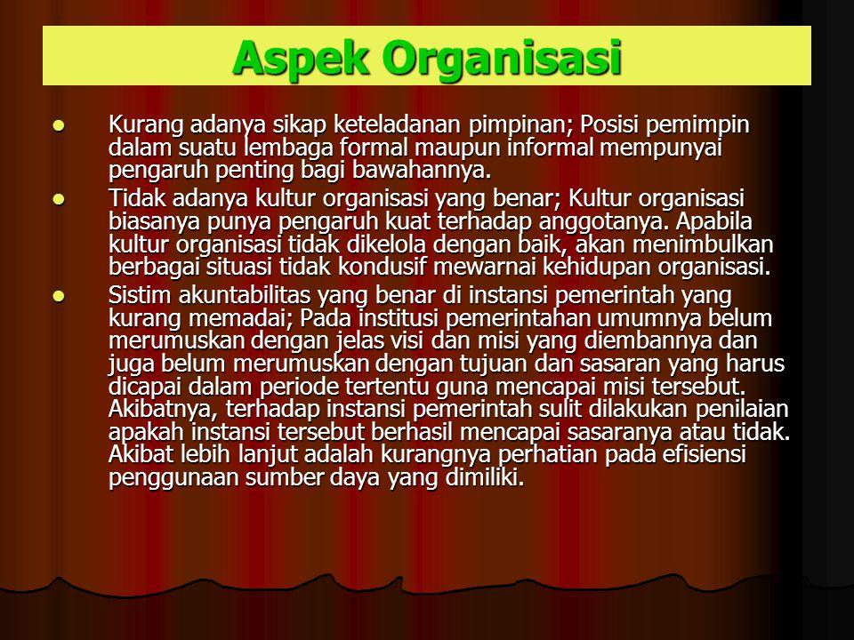 Aspek Organisasi Kurang adanya sikap keteladanan pimpinan; Posisi pemimpin dalam suatu lembaga formal maupun informal mempunyai pengaruh penting bagi bawahannya.