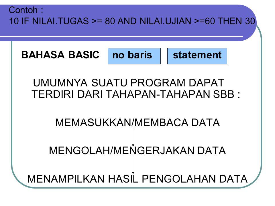 Contoh : 10 IF NILAI.TUGAS >= 80 AND NILAI.UJIAN >=60 THEN 30 BAHASA BASIC no baris statement UMUMNYA SUATU PROGRAM DAPAT TERDIRI DARI TAHAPAN-TAHAPAN SBB : MEMASUKKAN/MEMBACA DATA MENGOLAH/MENGERJAKAN DATA MENAMPILKAN HASIL PENGOLAHAN DATA
