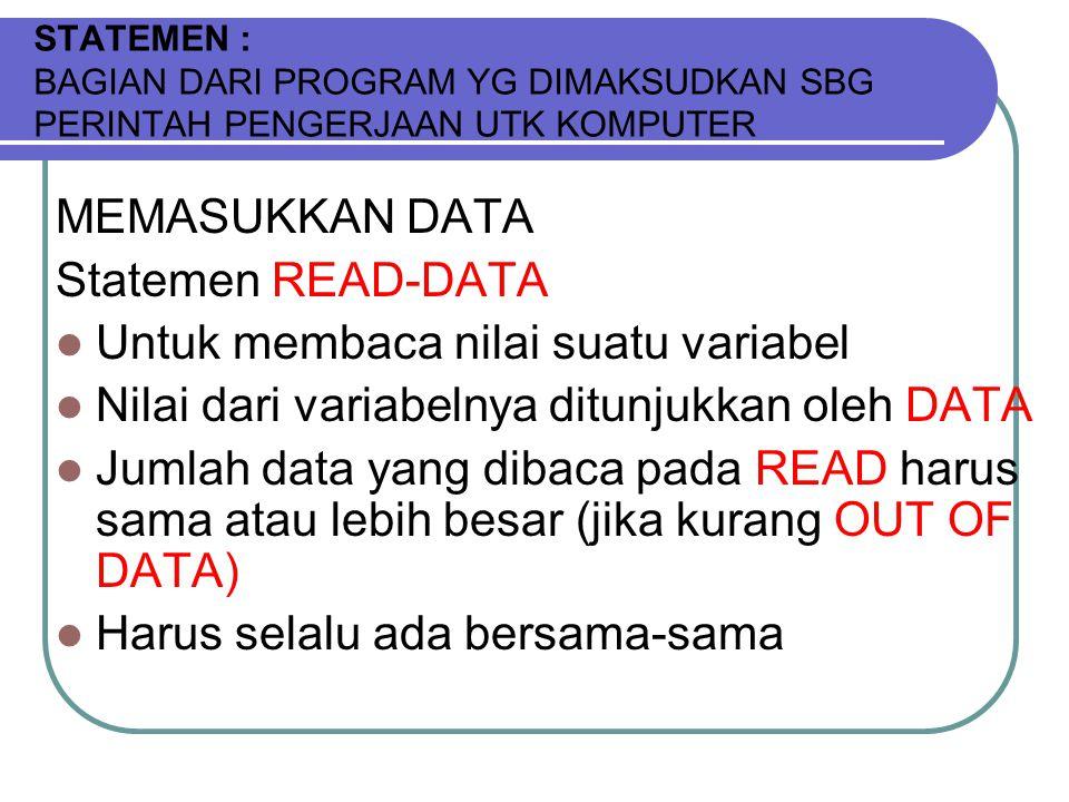 STATEMEN : BAGIAN DARI PROGRAM YG DIMAKSUDKAN SBG PERINTAH PENGERJAAN UTK KOMPUTER MEMASUKKAN DATA Statemen READ-DATA Untuk membaca nilai suatu variabel Nilai dari variabelnya ditunjukkan oleh DATA Jumlah data yang dibaca pada READ harus sama atau lebih besar (jika kurang OUT OF DATA) Harus selalu ada bersama-sama