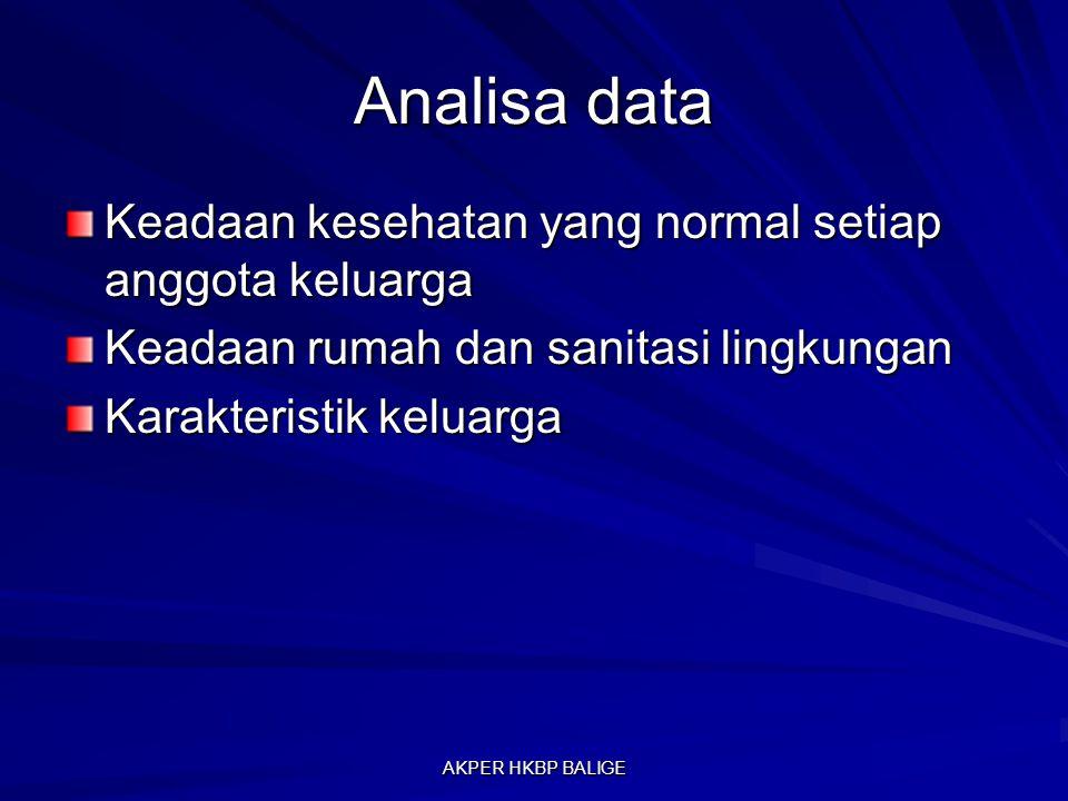 Analisa data Keadaan kesehatan yang normal setiap anggota keluarga Keadaan rumah dan sanitasi lingkungan Karakteristik keluarga AKPER HKBP BALIGE