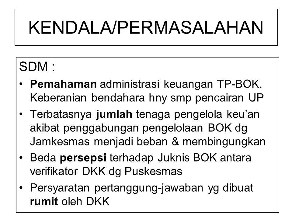 SDM : Pemahaman administrasi keuangan TP-BOK. Keberanian bendahara hny smp pencairan UP Terbatasnya jumlah tenaga pengelola keu'an akibat penggabungan