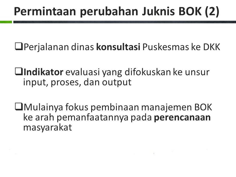 Permintaan perubahan Juknis BOK (2)  Perjalanan dinas konsultasi Puskesmas ke DKK  Indikator evaluasi yang difokuskan ke unsur input, proses, dan ou
