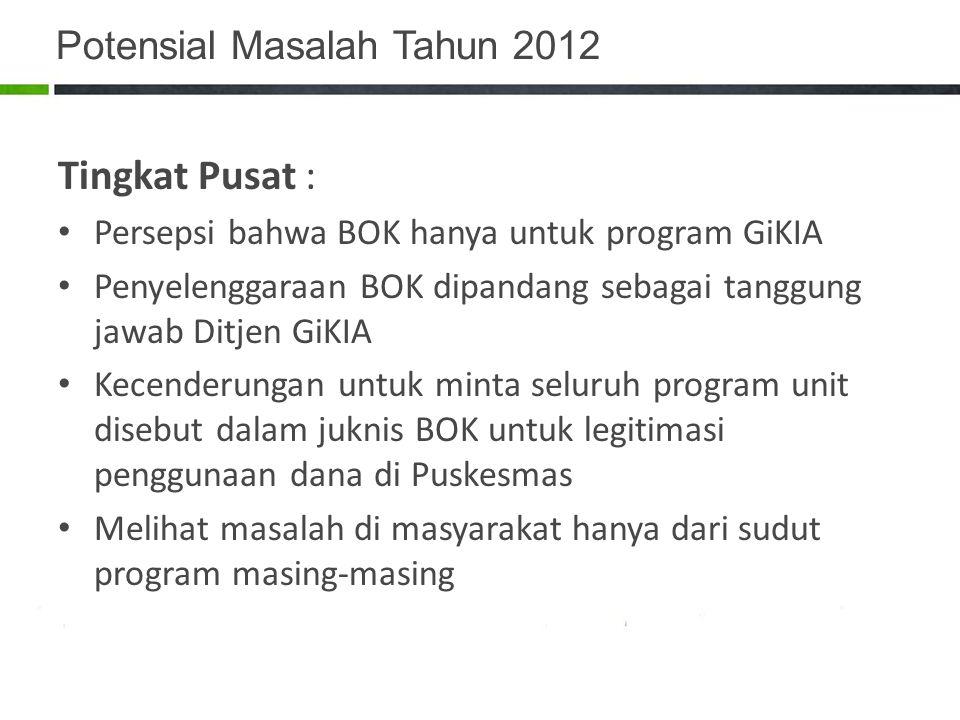 Potensial Masalah Tahun 2012 Tingkat Pusat : Persepsi bahwa BOK hanya untuk program GiKIA Penyelenggaraan BOK dipandang sebagai tanggung jawab Ditjen