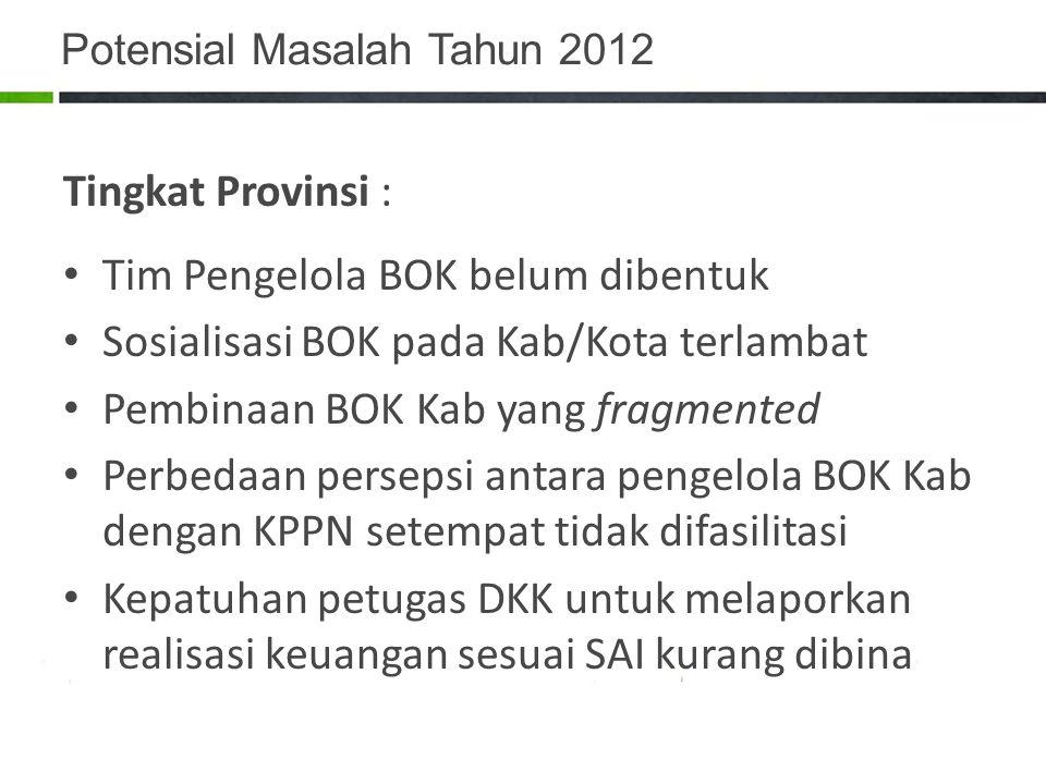 Potensial Masalah Tahun 2012 Tingkat Provinsi : Tim Pengelola BOK belum dibentuk Sosialisasi BOK pada Kab/Kota terlambat Pembinaan BOK Kab yang fragme