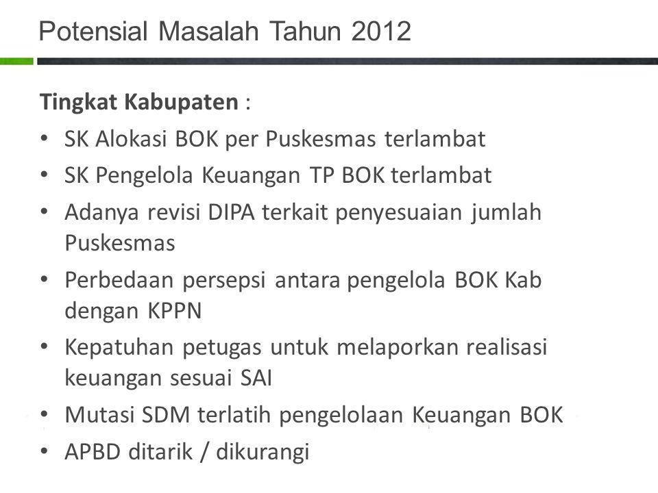 Potensial Masalah Tahun 2012 Tingkat Kabupaten : SK Alokasi BOK per Puskesmas terlambat SK Pengelola Keuangan TP BOK terlambat Adanya revisi DIPA terk