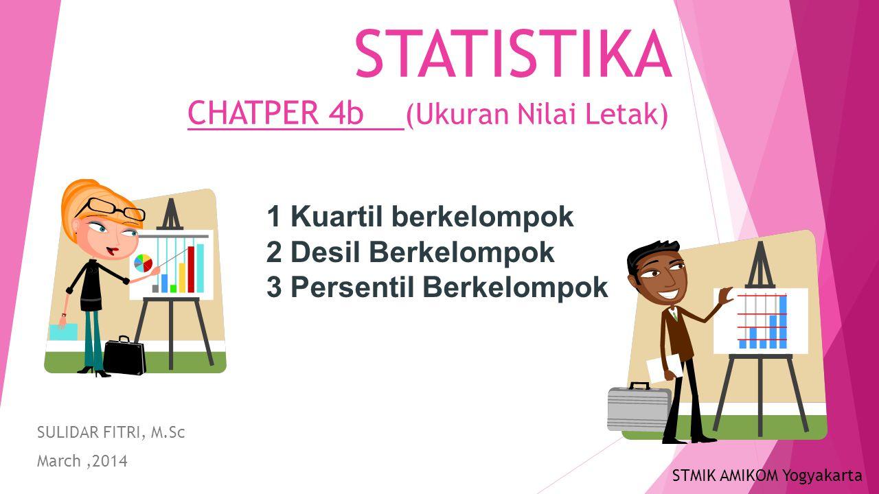 STATISTIKA CHATPER 4b (Ukuran Nilai Letak) SULIDAR FITRI, M.Sc March,2014 1 Kuartil berkelompok 2 Desil Berkelompok 3 Persentil Berkelompok STMIK AMIKOM Yogyakarta