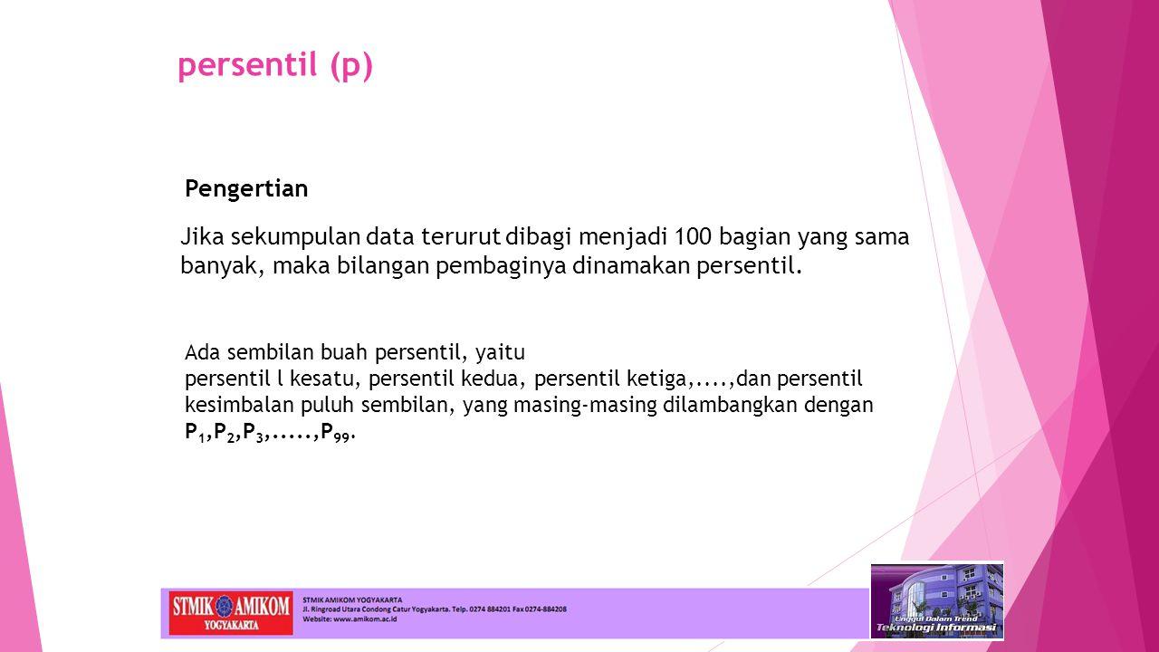 persentil (p) Jika sekumpulan data terurut dibagi menjadi 100 bagian yang sama banyak, maka bilangan pembaginya dinamakan persentil.