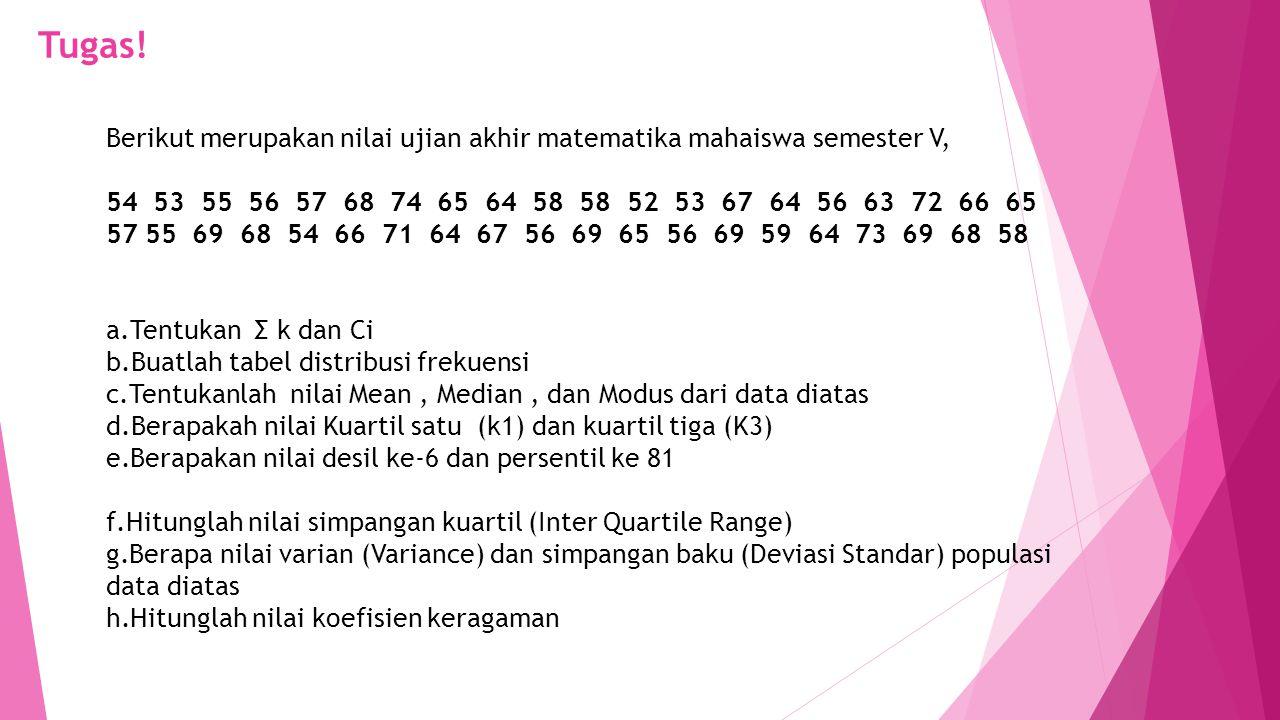 Tugas! Berikut merupakan nilai ujian akhir matematika mahaiswa semester V, 54 53 55 56 57 68 74 65 64 58 58 52 53 67 64 56 63 72 66 65 57 55 69 68 54