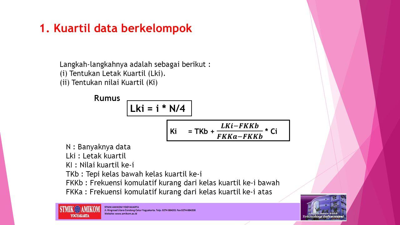Rumus Langkah-langkahnya adalah sebagai berikut : (i) Tentukan Letak Kuartil (Lki). (ii) Tentukan nilai Kuartil (Ki) Lki = i * N/4 N : Banyaknya data