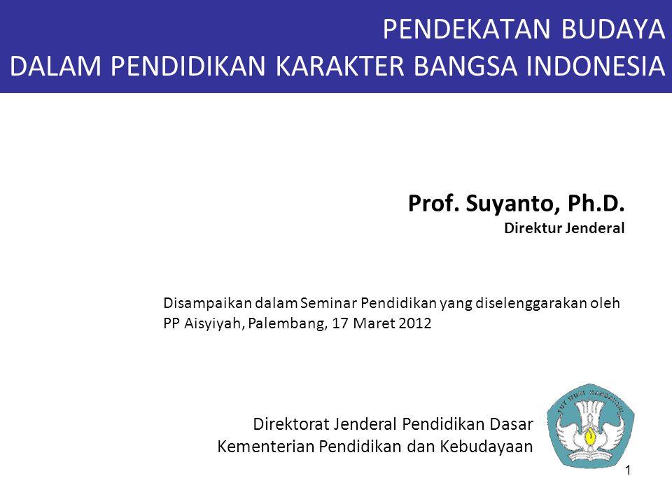 1 PENDEKATAN BUDAYA DALAM PENDIDIKAN KARAKTER BANGSA INDONESIA Prof. Suyanto, Ph.D. Direktur Jenderal Direktorat Jenderal Pendidikan Dasar Kementerian