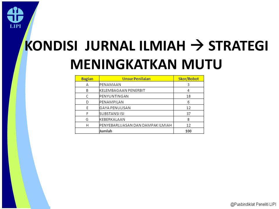 14 JURNAL BERMUTU: Faktor yang mempengaruhi @Pusbindiklat Peneliti LIPI - Kualitas KTI - Pengelola/Redaksi - Manajemen/Pengelolaan terbitan: ketepatan