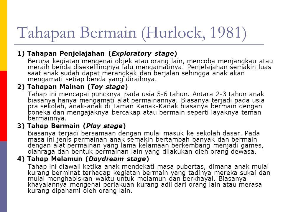 Tahapan Bermain (Hurlock, 1981) 1) Tahapan Penjelajahan (Exploratory stage) Berupa kegiatan mengenai objek atau orang lain, mencoba menjangkau atau meraih benda disekelilingnya lalu mengamatinya.