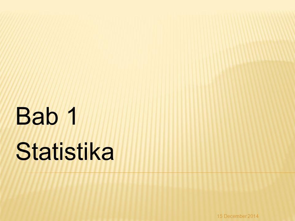 Jawab: = = 64,96 15 December 2014 Nilai UlanganTitik Tengah (x i )Frekuensi (f i )xifixifi 30–40353105 41–51466276 52–62578456 63–736812816 74–847910790 85–95806480 Jumlah452.923