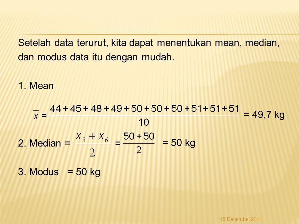 Setelah data terurut, kita dapat menentukan mean, median, dan modus data itu dengan mudah. 1.Mean = 49,7 kg 2.Median = 3.Modus = 50 kg 15 December 201