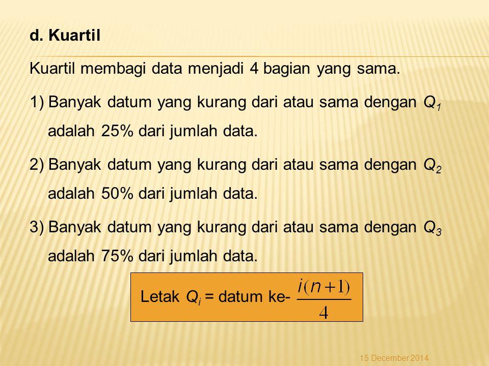 d. Kuartil Kuartil membagi data menjadi 4 bagian yang sama. 1) Banyak datum yang kurang dari atau sama dengan Q 1 adalah 25% dari jumlah data. 2) Bany
