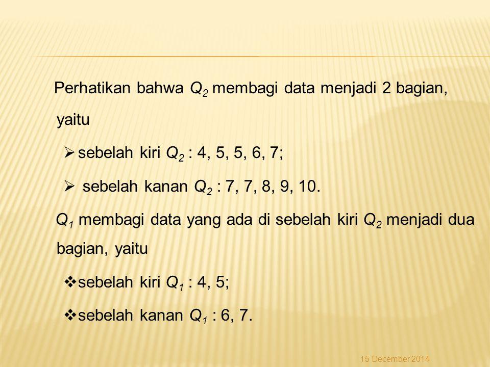 Perhatikan bahwa Q 2 membagi data menjadi 2 bagian, yaitu  sebelah kiri Q 2 : 4, 5, 5, 6, 7;  sebelah kanan Q 2 : 7, 7, 8, 9, 10. Q 1 membagi data y