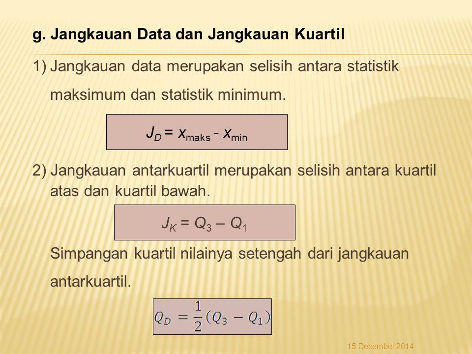 g. Jangkauan Data dan Jangkauan Kuartil 1)Jangkauan data merupakan selisih antara statistik maksimum dan statistik minimum. 2) Jangkauan antarkuartil