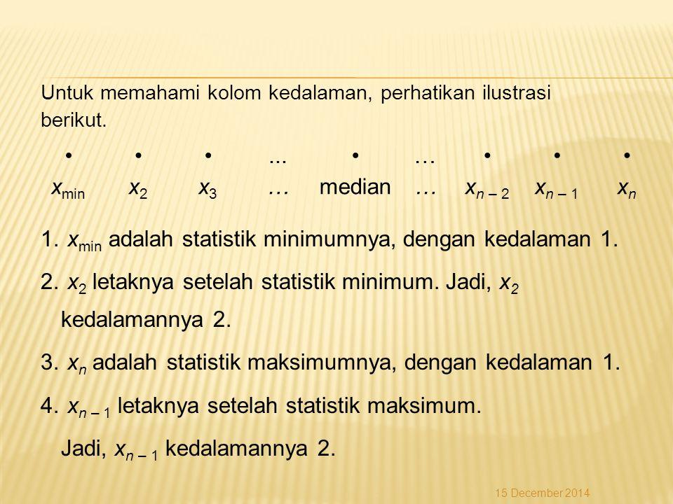 Untuk memahami kolom kedalaman, perhatikan ilustrasi berikut. 1. x min adalah statistik minimumnya, dengan kedalaman 1. 2. x 2 letaknya setelah statis