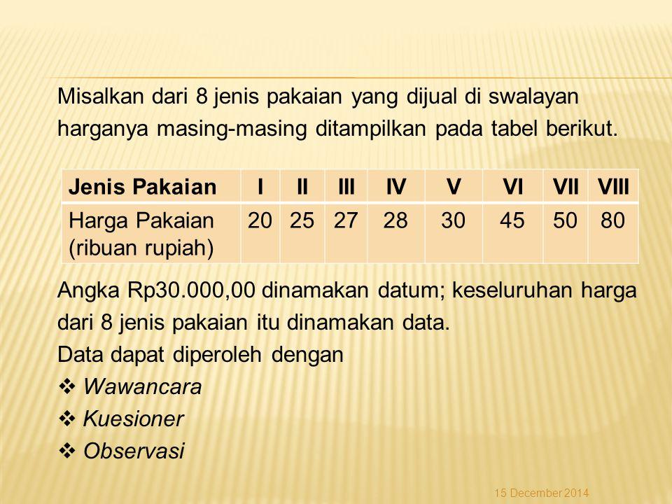 Cara lain (menggunakan rumus)  Letak Q 1 = datum ke- Jadi, Q 1 = x 3 = 5.