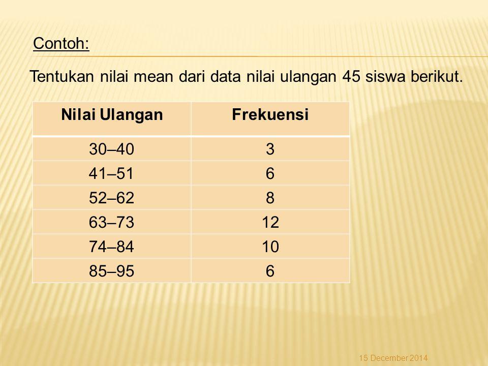 Contoh: Tentukan nilai mean dari data nilai ulangan 45 siswa berikut. Nilai UlanganFrekuensi 30–403 41–516 52–628 63–7312 74–8410 85–956 15 December 2