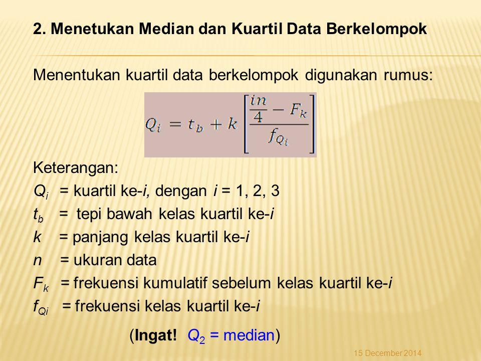 2. Menetukan Median dan Kuartil Data Berkelompok Menentukan kuartil data berkelompok digunakan rumus: Keterangan: Q i = kuartil ke-i, dengan i = 1, 2,
