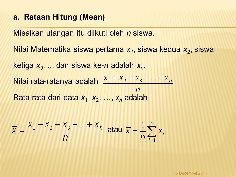 a. Rataan Hitung (Mean) Misalkan ulangan itu diikuti oleh n siswa. Nilai Matematika siswa pertama x 1, siswa kedua x 2, siswa ketiga x 3,... dan siswa