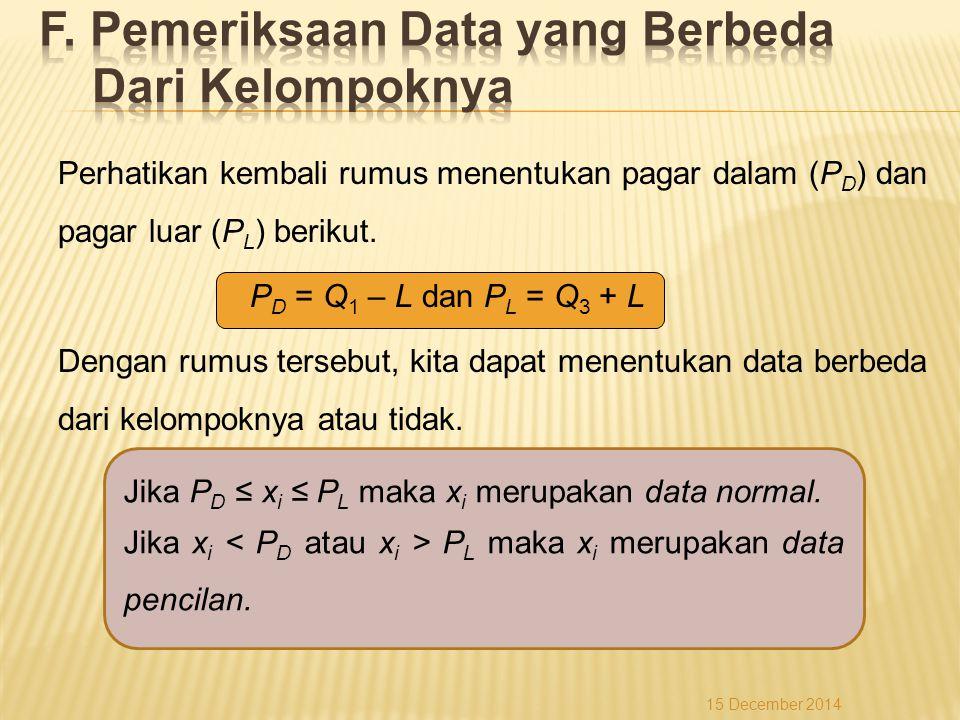 Jika P D ≤ x i ≤ P L maka x i merupakan data normal. Jika x i P L maka x i merupakan data pencilan. 15 December 2014 Perhatikan kembali rumus menentuk