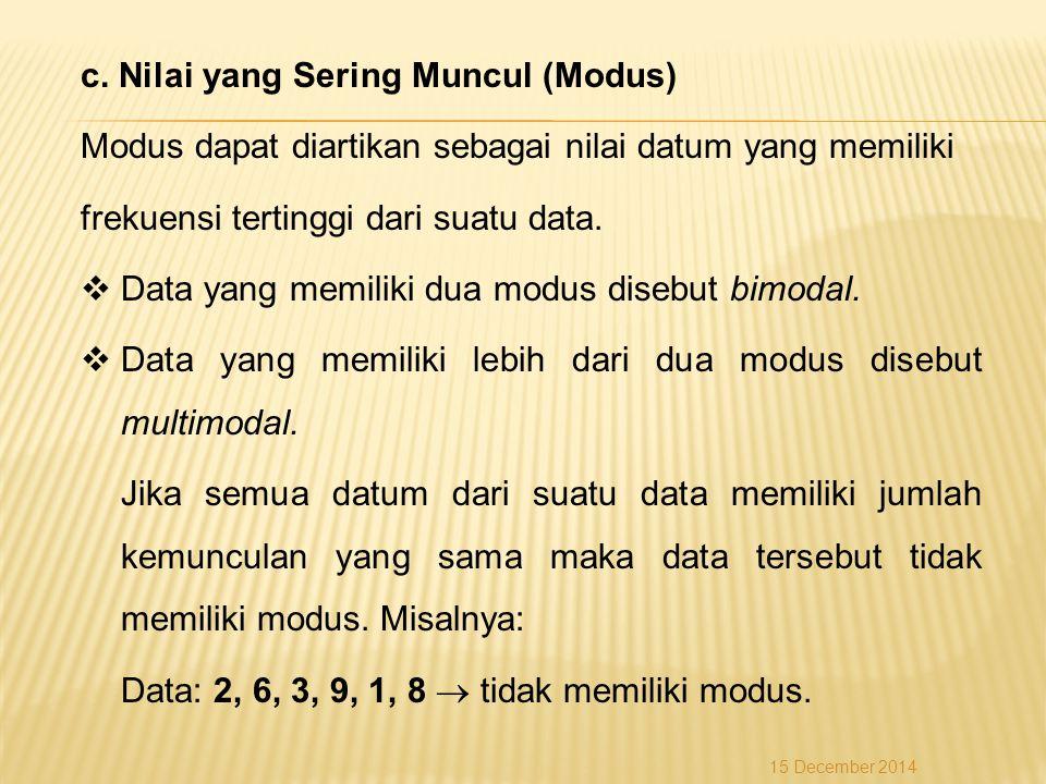 c. Nilai yang Sering Muncul (Modus) Modus dapat diartikan sebagai nilai datum yang memiliki frekuensi tertinggi dari suatu data.  Data yang memiliki