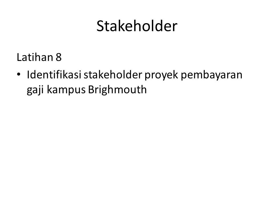 Stakeholder Latihan 8 Identifikasi stakeholder proyek pembayaran gaji kampus Brighmouth