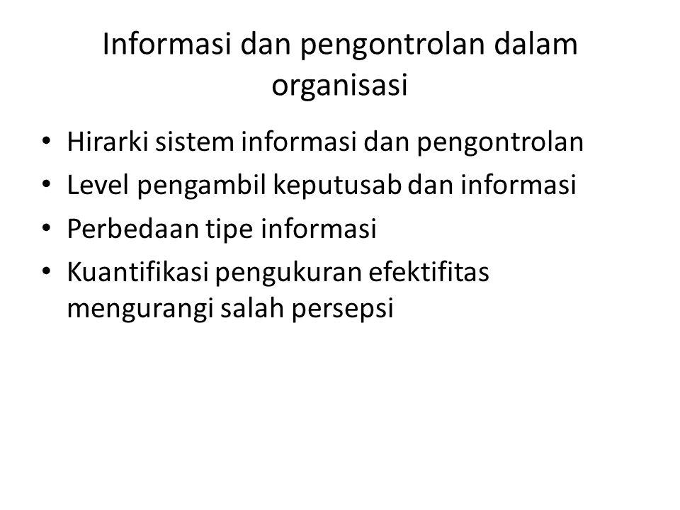Informasi dan pengontrolan dalam organisasi Hirarki sistem informasi dan pengontrolan Level pengambil keputusab dan informasi Perbedaan tipe informasi
