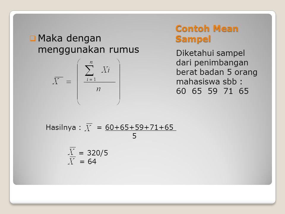 Contoh Mean Sampel Diketahui sampel dari penimbangan berat badan 5 orang mahasiswa sbb : 60 65 59 71 65  Maka dengan menggunakan rumus Hasilnya : = 6