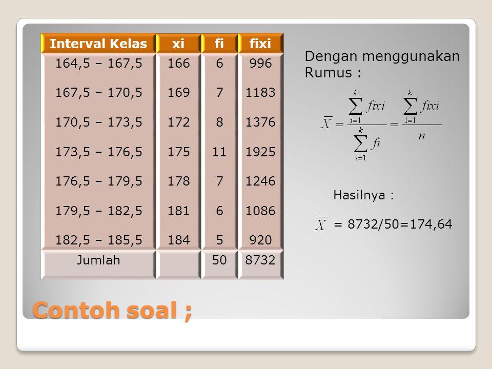 Contoh soal ; Interval Kelasxififixi 164,5 – 167,5 167,5 – 170,5 170,5 – 173,5 173,5 – 176,5 176,5 – 179,5 179,5 – 182,5 182,5 – 185,5 166 169 172 175
