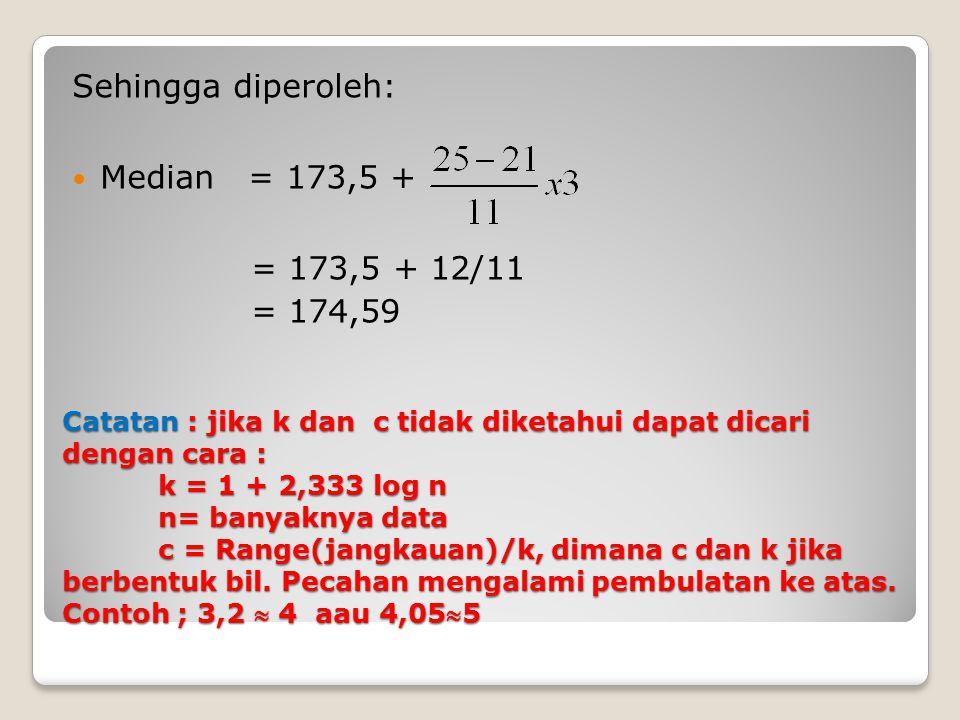 Catatan : jika k dan c tidak diketahui dapat dicari dengan cara : k = 1 + 2,333 log n n= banyaknya data c = Range(jangkauan)/k, dimana c dan k jika be
