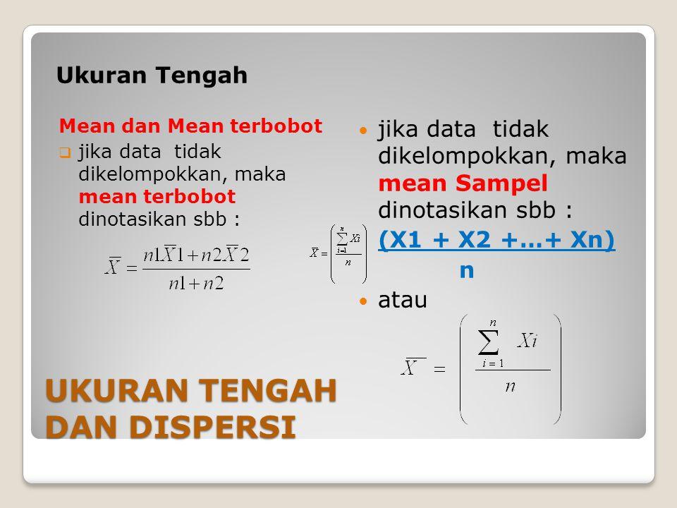 UKURAN TENGAH DAN DISPERSI Ukuran Tengah Mean dan Mean terbobot  jika data tidak dikelompokkan, maka mean terbobot dinotasikan sbb : jika data tidak