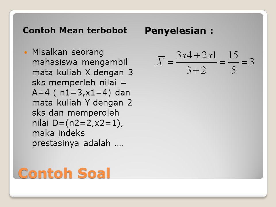 Contoh Mean Sampel Diketahui sampel dari penimbangan berat badan 5 orang mahasiswa sbb : 60 65 59 71 65  Maka dengan menggunakan rumus Hasilnya : = 60+65+59+71+65 5 = 320/5 = 64