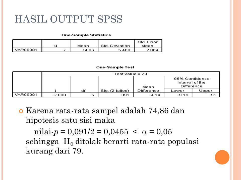 HASIL OUTPUT SPSS Karena rata-rata sampel adalah 74,86 dan hipotesis satu sisi maka nilai- p = 0,091/2 = 0,0455 <  = 0,05 sehingga H 0 ditolak berarti rata-rata populasi kurang dari 79.