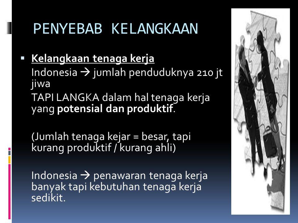 PENYEBAB KELANGKAAN  Kelangkaan tenaga kerja Indonesia  jumlah penduduknya 210 jt jiwa TAPI LANGKA dalam hal tenaga kerja yang potensial dan produkt