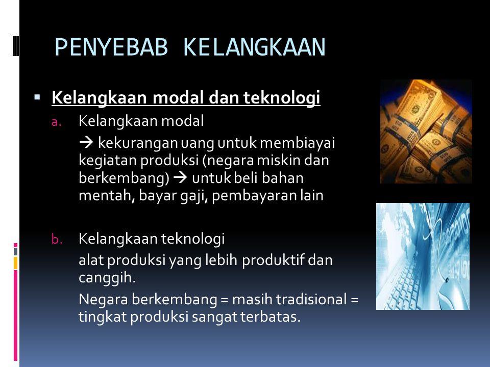 PENYEBAB KELANGKAAN  Kelangkaan modal dan teknologi a. Kelangkaan modal  kekurangan uang untuk membiayai kegiatan produksi (negara miskin dan berkem