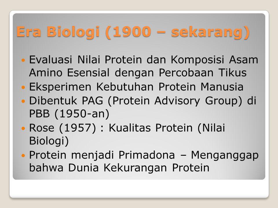Era Biologi (1900 – sekarang) Evaluasi Nilai Protein dan Komposisi Asam Amino Esensial dengan Percobaan Tikus Eksperimen Kebutuhan Protein Manusia Dib