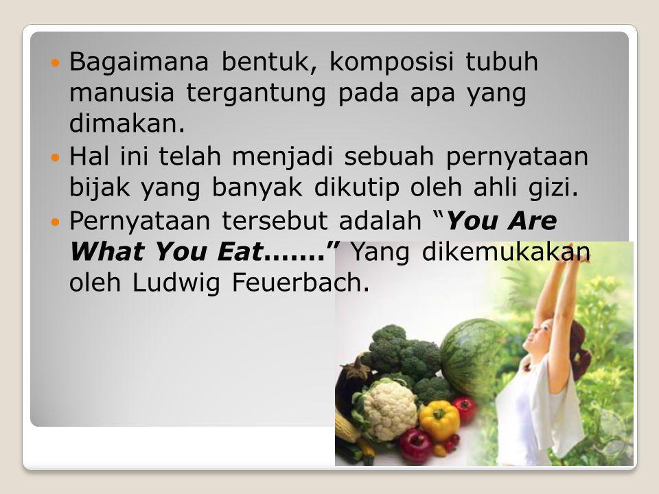 Bagaimana bentuk, komposisi tubuh manusia tergantung pada apa yang dimakan. Hal ini telah menjadi sebuah pernyataan bijak yang banyak dikutip oleh ahl