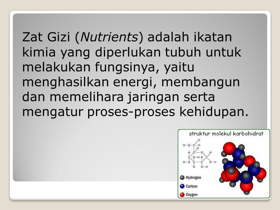 Zat Gizi (Nutrients) adalah ikatan kimia yang diperlukan tubuh untuk melakukan fungsinya, yaitu menghasilkan energi, membangun dan memelihara jaringan
