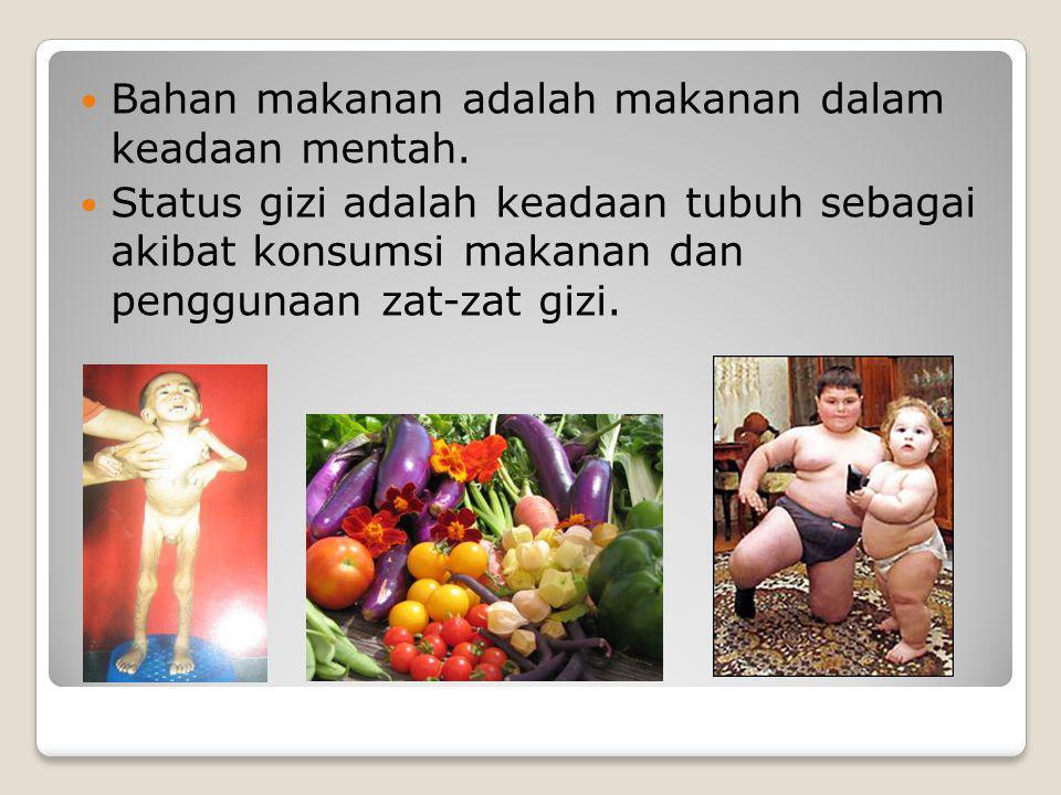 Pengertian gizi Kata gizi berasal dari bahasa Arab ghidza, yg berarti makanan .