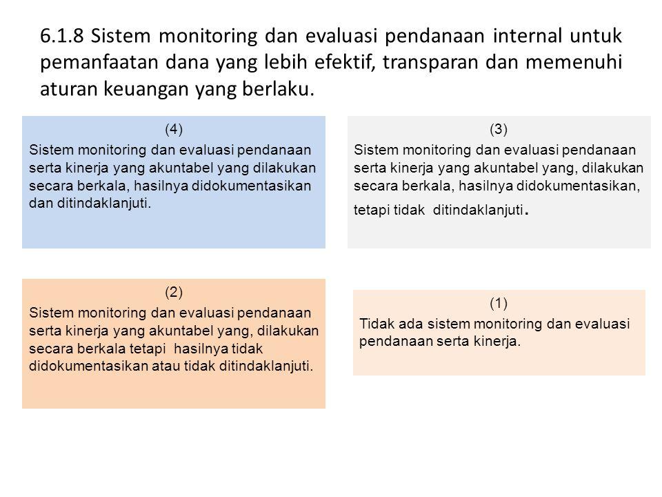 6.1.8 Sistem monitoring dan evaluasi pendanaan internal untuk pemanfaatan dana yang lebih efektif, transparan dan memenuhi aturan keuangan yang berlaku.