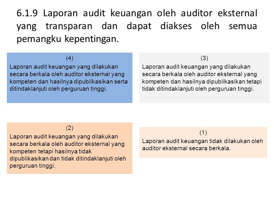 6.1.9 Laporan audit keuangan oleh auditor eksternal yang transparan dan dapat diakses oleh semua pemangku kepentingan. (4) Laporan audit keuangan yang