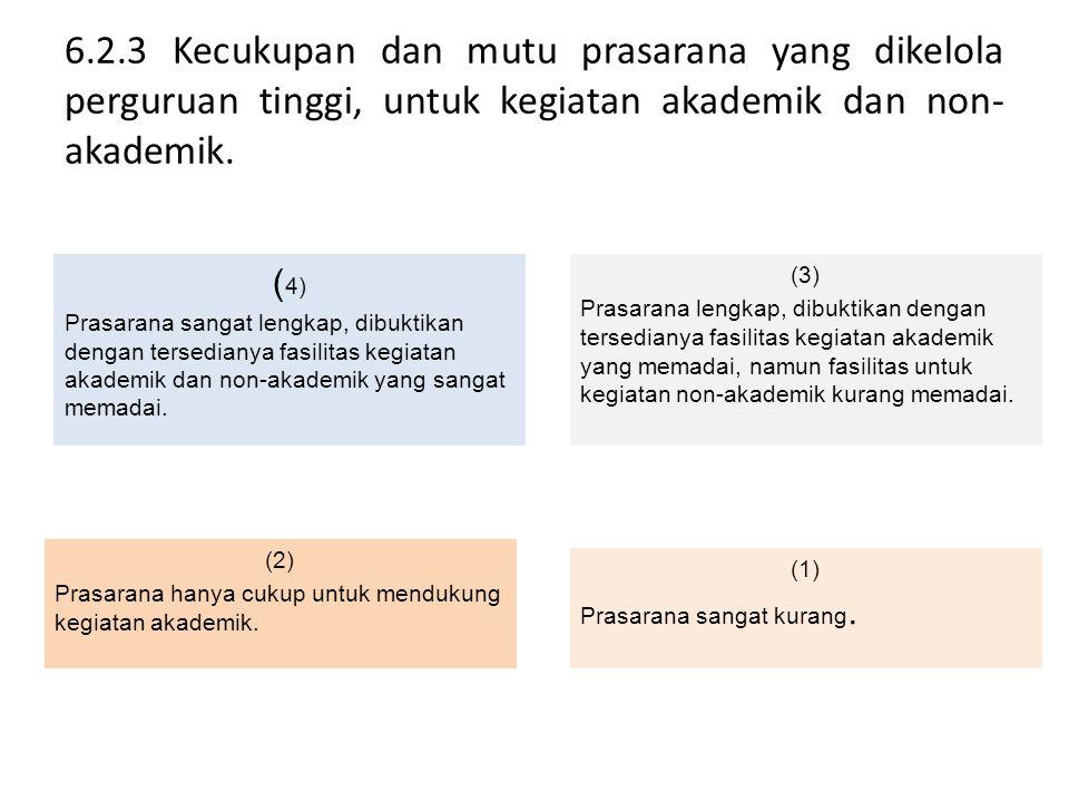 6.2.3 Kecukupan dan mutu prasarana yang dikelola perguruan tinggi, untuk kegiatan akademik dan non- akademik. ( 4) Prasarana sangat lengkap, dibuktika