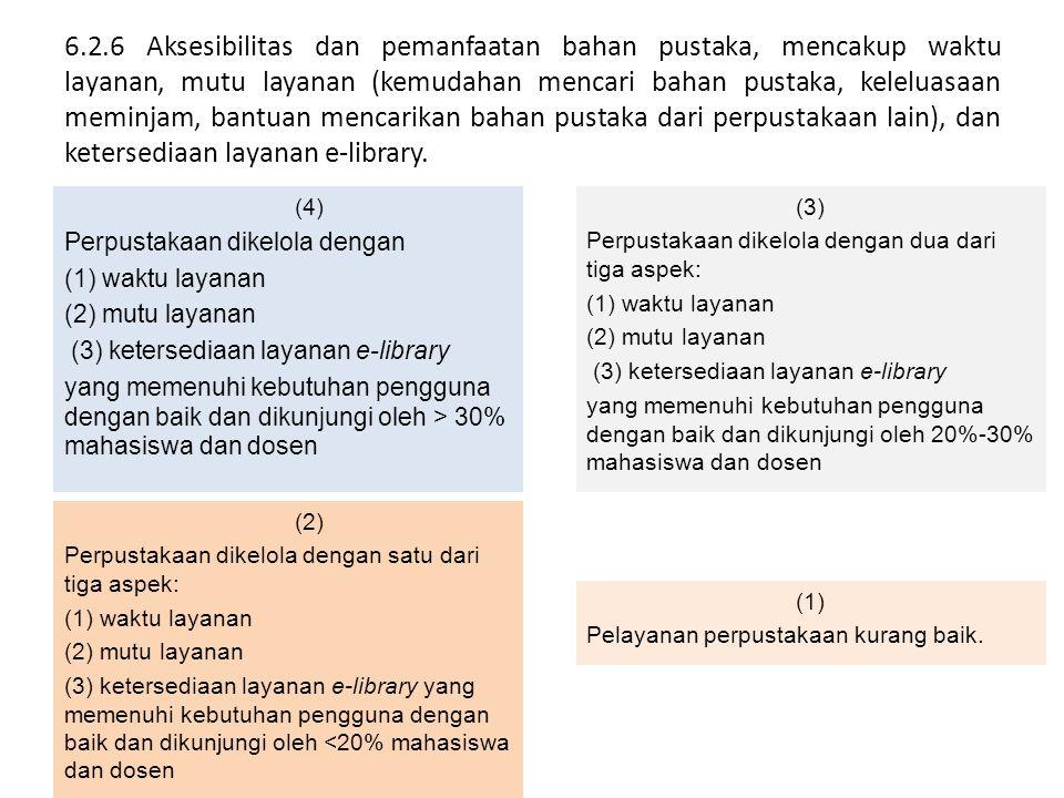 6.2.6 Aksesibilitas dan pemanfaatan bahan pustaka, mencakup waktu layanan, mutu layanan (kemudahan mencari bahan pustaka, keleluasaan meminjam, bantua