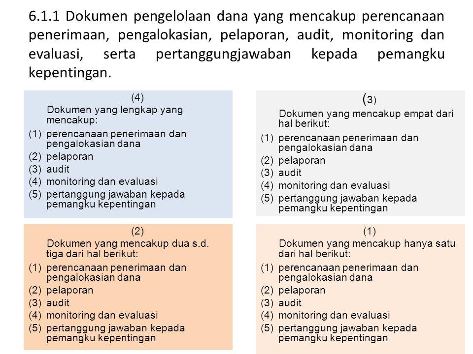 6.1.1 Dokumen pengelolaan dana yang mencakup perencanaan penerimaan, pengalokasian, pelaporan, audit, monitoring dan evaluasi, serta pertanggungjawaba